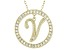 Bella Luce ® 1.07ctw Round 18k Yellow Gold Over Sterling Silver initial V Pendant With 18