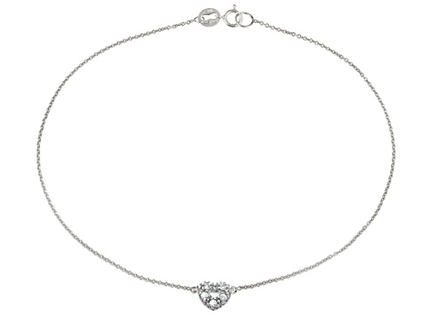 .15ctw Sterling Silver Heart Anklet