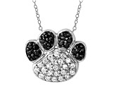 White And Black Cubic Zirconia Silver Paw Print Necklace .75ctw