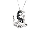 White And Black Cubic Zirconia Silver Lion Necklace .95ctw
