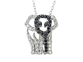 White And Black Cubic Zirconia Silver Elephant Necklace .99ctw