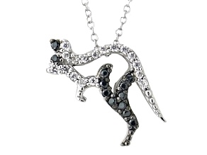 White And Black Cubic Zirconia Silver Kangaroo Necklace .44ctw