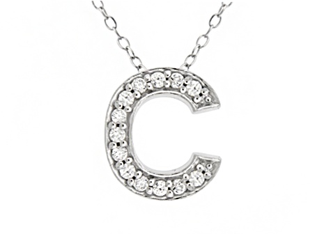 Bella Luce ® .39ctw Round Rhodium Over Sterling Silver Block Letter C Necklace