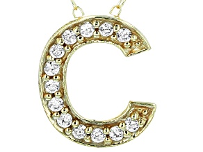 Bella Luce ® .39ctw Round 18k Yellow Gold Over Sterling Silver Block Letter C Necklace