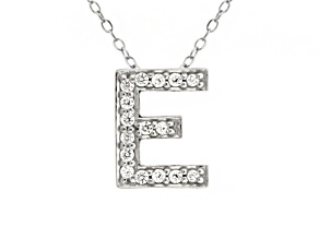 Bella Luce ® .54ctw Round Rhodium Over Sterling Silver Block Letter E Necklace