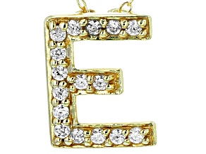 Bella Luce ® .54ctw Round 18k Yellow Gold Over Sterling Silver Block Letter E Necklace