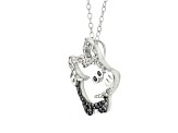 White And Black Cubic Zirconia Silver Pig Necklace .65ctw