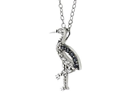 White And Black Cubic Zirconia Silver Flamingo Necklace .27ctw