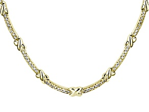 White Diamond Simulant 18k Yellow Gold Over Sterling Silver Necklace 4.56ctw
