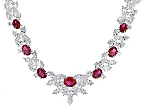 Bella Luce ® Lab Created Ruby & White Diamond Simulants Rhodium Over Sterling Silver Necklace