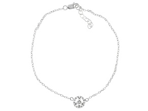.34ctw Rhodium Over Sterling Silver 9 inch Peace Sign Anklet