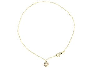 .24ctw 18k Yellow Gold Over Sterling Silver 10 inch Heart Charm Anklet