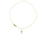 .30ctw 18k Yellow Gold Over Sterling Silver Cross 10 inch Anklet