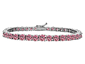 Pink Cubiz Zirconia Sterling Silver Tennis Bracelet 18.90ctw
