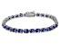 Blue Cubic Zirconia Sterling Silver Tennis Bracelet 26.10ctw