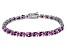 Pink Cubic Zirconia Sterling Silver Tennis Bracelet 26.10ctw