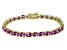 Pink Cubic Zirconia 18k Yellow Gold Over Sterling Silver Tennis Bracelet 26.10ctw