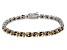 Brown Cubic Zirconia Sterling Silver Tennis Bracelet 26.10ctw