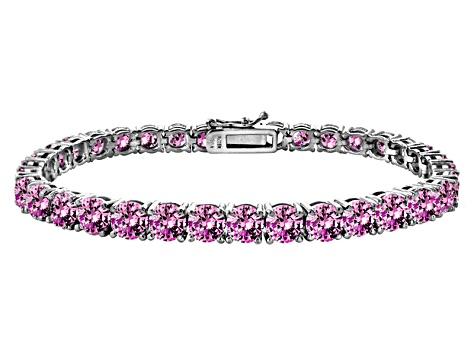 Pink Cubic Zirconia Sterling Silver Tennis Bracelet 33 30ctw