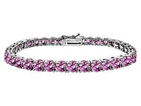 Pink Cubic Zirconia Sterling Silver Tennis Bracelet 33.30ctw