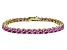 Pink Cubic Zirconia 18k Yellow Gold Over Sterling Silver Tennis Bracelet 33.30ctw