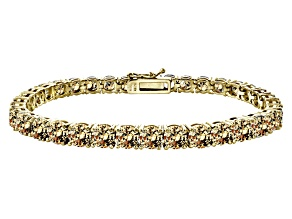 Brown Cubic Zirconia 18k Yellow Gold Over Sterling Silver Tennis Bracelet 33.30ctw