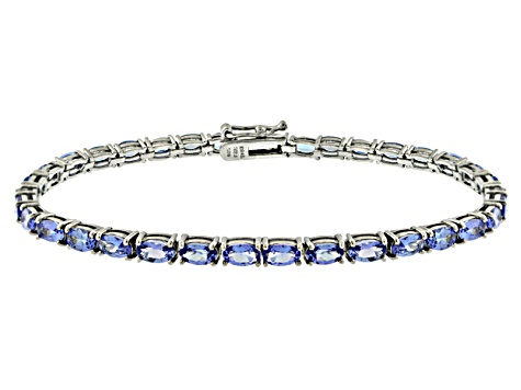 Blue Cubic Zirconia Sterling Silver Tennis Bracelet 15 75ctw