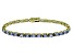 Blue Cubic Zirconia 18k Yellow Gold Over Sterling Silver Tennis Bracelet 15.75ctw