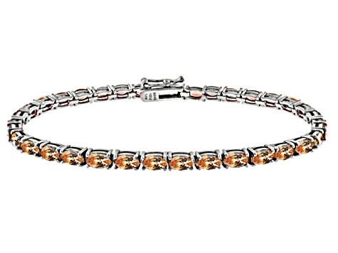 Brown Cubic Zirconia Sterling Silver Tennis Bracelet 15.75ctw