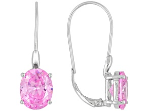 Pink Cubic Zirconia Silver Earrings 9.70ctw