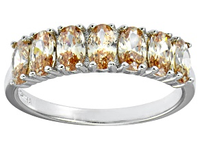 Bella Luce® 2.45ctw Oval Champagne Diamond Simulant Sterling Silver Ring
