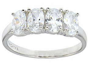White Cubic Zirconia Rhodium Over Sterling Silver 4 Stone Ring 2.92ctw