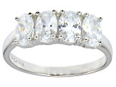 Bella Luce® 2.92ctw Oval White Diamond Simulant Sterling Silver 4 Stone Ring