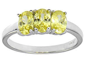 Bella Luce® 2.19ctw Oval Yellow Diamond Simulant Sterling Silver 3 Stone Ring