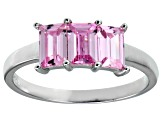 Bella Luce® Emerald Cut Pink Diamond Simulant Sterling Silver 3 Stone Ring