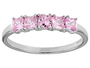 Bella Luce® 1.35ctw Cushion Pink Diamond Simulant Sterling Silver 5 Stone Ring
