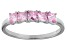 Bella Luce® 1.35ctw Cushion Pink Diamond Simulant Sterling Silver 5 Stone Ring
