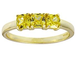 Bella Luce® Cushion Yellow Diamond Simulant 18k Gold Over Sterling Silver Ring