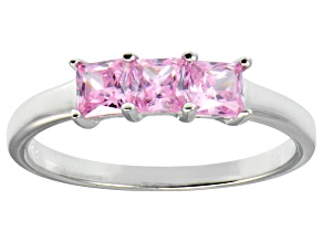 Bella Luce® 1.50ctw Princess Cut Pink Diamond Simulant Sterling Silver Ring