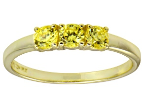 Bella Luce® .87ctw Yellow Diamond Simulant 18k Gold Over Sterling Silver Ring