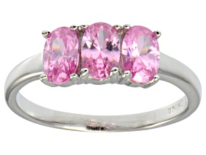Bella Luce® 2.19ctw Oval Pink Diamond Simulant Sterling Silver 3 Stone Ring