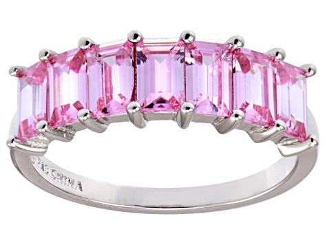 Bella Luce® Emerald Cut Pink Diamond Simulant Sterling Silver 7 Stone Ring