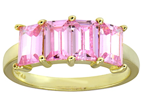 Bella Luce® Pink Diamond Simulant 18k Gold Over Sterling Silver 4 Stone Ring