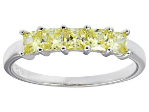Bella Luce® 1.50ctw Princess Cut Yellow Diamond Simulant Sterling Silver Ring