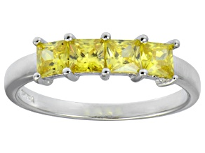 Bella Luce® 2.00ctw Princess Cut Yellow Diamond Simulant Sterling Silver Ring