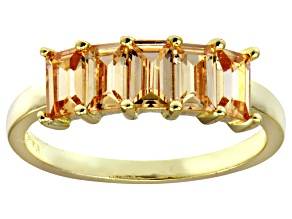 Bella Luce® Champagne Diamond Simulant 18k Gold Over Sterling Silver Ring