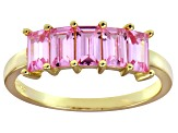 Bella Luce® Pink Diamond Simulant 18k Gold Over Sterling Silver 5 Stone Ring