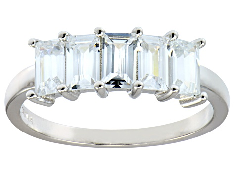 Bella Luce® Emerald Cut White Diamond Simulant Sterling Silver 5 Stone Ring