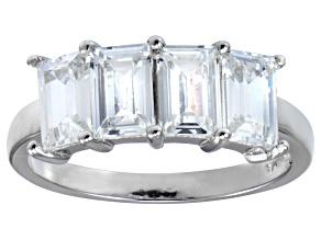 Bella Luce® 4.52ctw Emerald Cut White Diamond Simulant Sterling Silver Ring