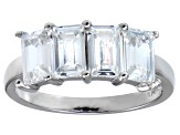 Bella Luce® 4.52ctw Emerald Cut White Diamond Simulant Sterling Silver Ring